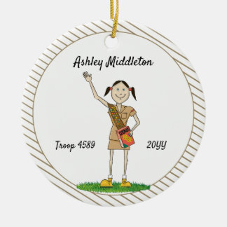 Dark Haired Brownie Girl Scouting Brown Stripes Christmas Ornament