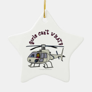 Dark Helicopter Pilot Girl Christmas Ornament