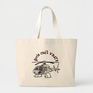 Dark Helicopter Pilot Large Tote Bag