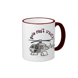 Dark Helicopter Pilot Ringer Coffee Mug