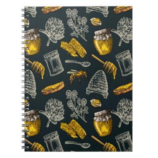 Dark Honey Bee Beehive Yellow Vintage Organic Notebook