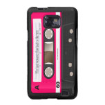 Dark Hot Pink Retro Cassette Tape Personalised Galaxy SII Covers