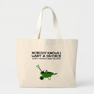 Dark humour divorce large tote bag