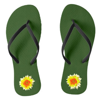 Dark Hunter Green Sunflower on Flip Flops