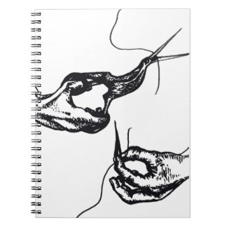 Dark Illustration of Hands, Scissors and Needle Spiral Note Books