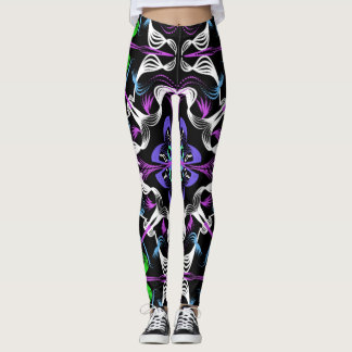 Dark Kaleidoscope Mandala Green Purple White Black Leggings