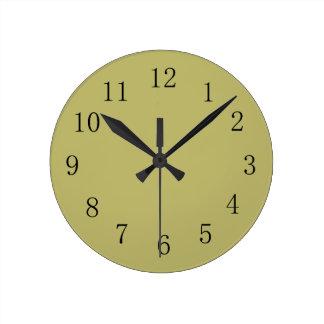 Dark Khaki Green Color Wall Clock