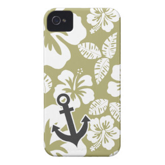 Dark Khaki Tropical Hibiscus; Anchor iPhone 4 Case-Mate Case
