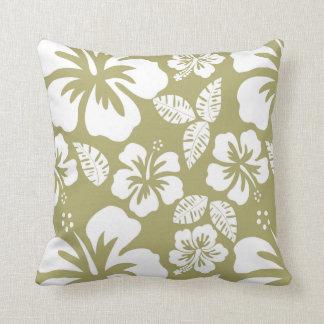 Dark Khaki Tropical Hibiscus Pillows