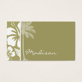 Dark Khaki Tropical Hibiscus; Palm Business Card