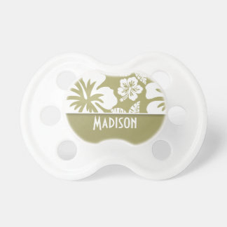 Dark Khaki Tropical Hibiscus Personalized Pacifier