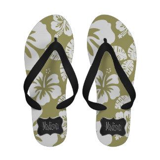 Dark Khaki Tropical Hibiscus Retro Chalkboard Sandals