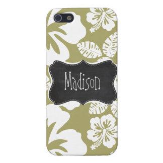 Dark Khaki Tropical Hibiscus; Retro Chalkboard iPhone 5 Case