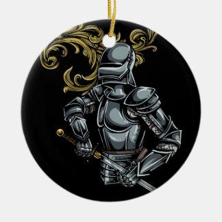 Dark Knight Armour Round Ceramic Decoration