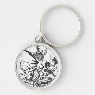 Dark Knight Logo Detailed Silver-Colored Round Key Ring