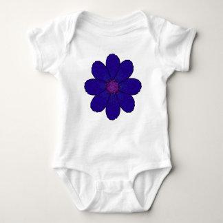Dark Lavender Blue Flower Baby Bodysuit