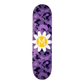 Dark Lavender Camo Daisy Custom Skateboard