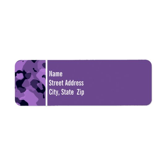 Dark Lavender Camo; Personalised Return Address Label