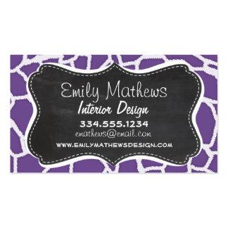 Dark Lavender Giraffe Print; Retro Chalkboard Business Card Template
