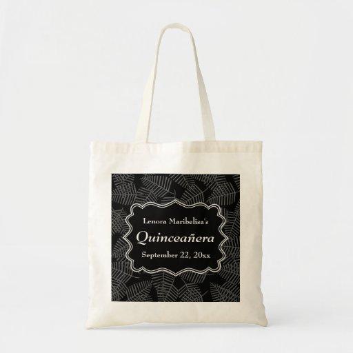Dark Leaves Pattern Quinceanera Tote Bags