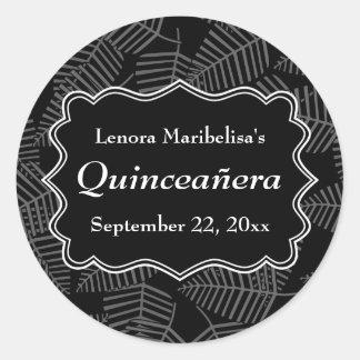 Dark Leaves Pattern Quinceanera Classic Round Sticker