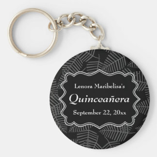 Dark Leaves Pattern Quinceanera Key Chains