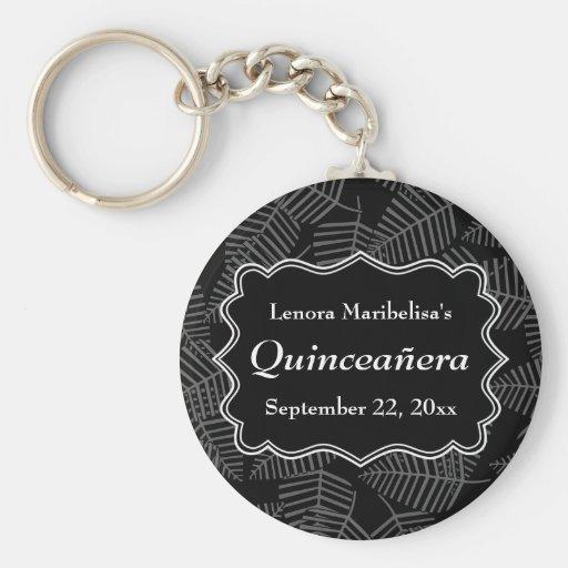 Dark Leaves Pattern Quinceanera Key Chains