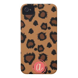 Dark Leopard Single Initial Monogram Case iPhone 4 Case