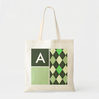 Dark & Light Green Argyle Pattern Tote Bag