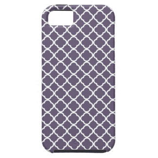 Dark Lilac And White Quatrefoil. Moroccan Pattern iPhone 5 Cases