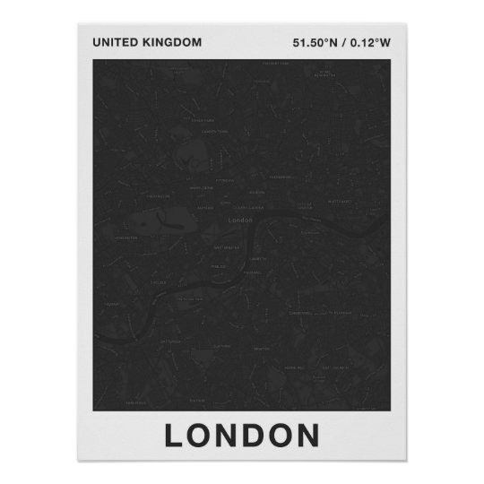 Dark London Map – Wall Poster from LazyGuysStyle