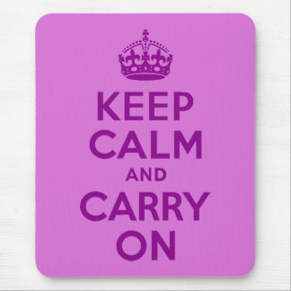 Dark Magenta and Orchid Keep Calm and Carry On Mouse Mat
