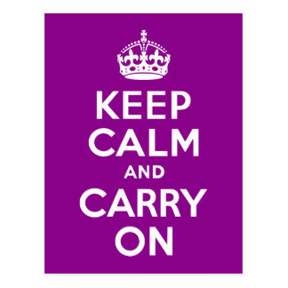 Dark Magenta Keep Calm and Carry On Postcard