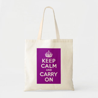 Dark Magenta Keep Calm and Carry On Tote Bag