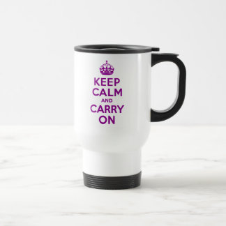 Dark Magenta Keep Calm and Carry On Travel Mug