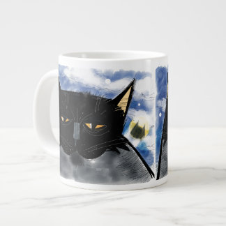 Dark masked bat cat with spotlight signal jumbo mug