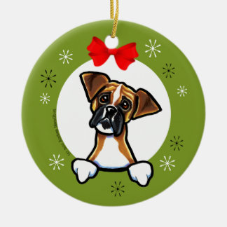 Dark Masked Fawn Boxer Christmas Classic Christmas Ornament