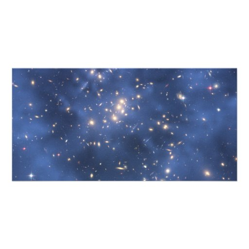 Dark Matter Ring and Galaxy Cluster in Cobalt Blue Photo Greeting Card
