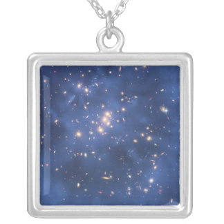 Dark Matter Ring in a Galaxy Cluster Square Pendant Necklace