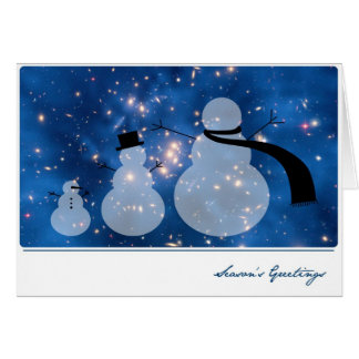 Dark Matter with Galaxy and Snowmen – Hubble Greeting Card