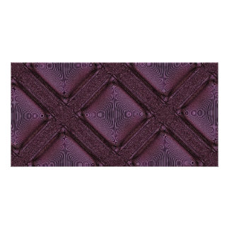 Dark Mauve Abstract Pattern Personalised Photo Card