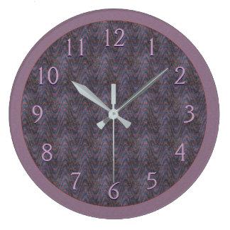 Dark Mauve Rust Blue Large Clock