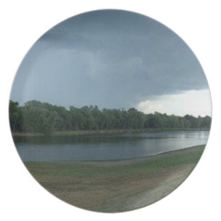 Dark Menacing Storm Cloud over a Lake valley Party Plate