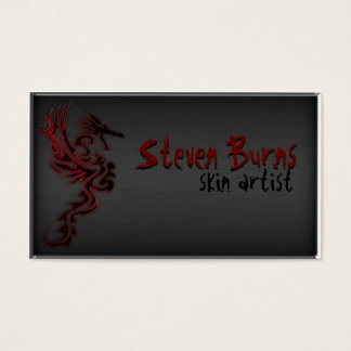 Dark Metal Dragon II Red Business Card