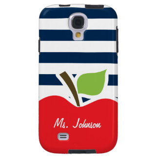 Dark Midnight Blue Horizontal Stripes; Apple Galaxy S4 Case
