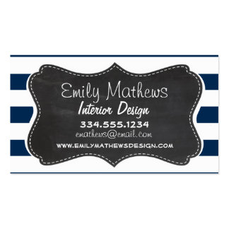 Dark Midnight Blue Stripes; Retro Chalkboard Business Card Templates