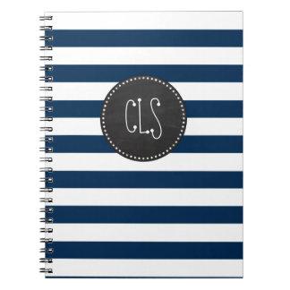 Dark Midnight Blue Stripes; Retro Chalkboard Notebooks