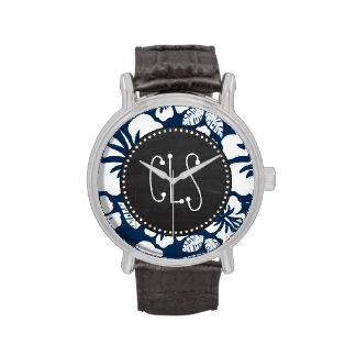 Dark Midnight Blue Tropical Chalkboard look Wristwatches