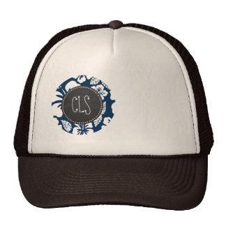Dark Midnight Blue Tropical Chalkboard look Hat