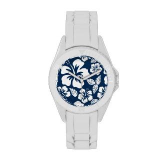 Dark Midnight Blue Tropical Hibiscus Flowers Watches